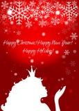 Silueta de la muchacha de la princesa, copos de nieve que soplan en un backgro rojo Imágenes de archivo libres de regalías