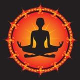 Silueta de la muchacha de la yoga Imágenes de archivo libres de regalías