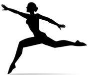 Silueta de la muchacha del bailarín stock de ilustración