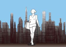 Silueta de la muchacha en el fondo de la ciudad libre illustration