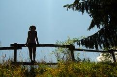 Silueta de la muchacha que se coloca en la cerca de madera Fotos de archivo