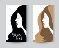 Silueta de la mujer con diseñar del pelo Imágenes de archivo libres de regalías