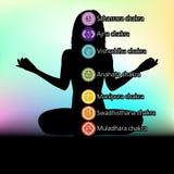 Silueta de la mujer con símbolos del chakra. EPS 8 stock de ilustración