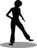 Silueta de la mujer del bailarín stock de ilustración