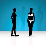 Silueta de la mujer del bikini ilustración del vector