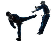 Silueta de la mujer del hombre de los artes marciales del vietvodao del karate Imagenes de archivo