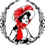 Silueta de la mujer del Tea-time con el ornamento Foto de archivo
