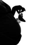 Silueta de la mujer embarazada Fotografía de archivo