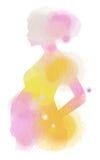 Silueta de la mujer embarazada más el color de agua abstracto pintado empuje ilustración del vector