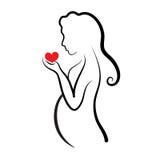 Silueta de la mujer embarazada, símbolo del vector Fotografía de archivo
