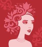 Silueta de la mujer en flores Fotos de archivo libres de regalías