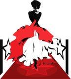 Silueta de la mujer en una alfombra roja. Serie de Isabel Fotos de archivo libres de regalías