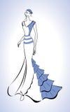 Silueta de la mujer hermosa en vestido de noche azul y boina - vector el ejemplo Foto de archivo