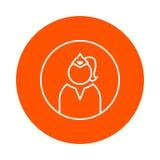 Silueta de la mujer oficial en la cola del casquillo y del pelo, icono monocromático redondo, estilo plano Fotografía de archivo