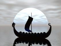 Silueta de la nave de Vikingo Imagenes de archivo