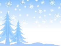 Silueta de la nieve del árbol de navidad Foto de archivo libre de regalías
