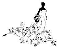 Silueta de la novia de la boda del modelo Fotografía de archivo