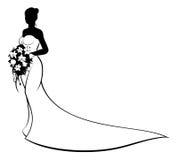 Silueta de la novia de la boda que sostiene las flores Fotografía de archivo libre de regalías