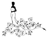 Silueta de la novia del vestido de boda Imágenes de archivo libres de regalías
