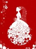 Silueta de la novia, tarjeta floral en los colores blancos y rojos Fotografía de archivo libre de regalías
