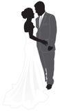 Silueta de la novia y del novio Fotografía de archivo