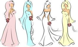 Silueta de la novia y del novio, fondo libre illustration