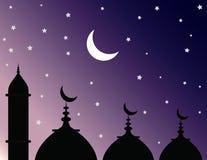 Silueta de la opinión de la mezquita y de la bóveda en una noche estrellada foto de archivo libre de regalías
