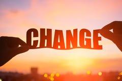 Silueta de la palabra del cambio fotografía de archivo