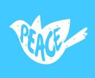 Silueta de la paz de la paloma y del texto de las letras Escritura de la etiqueta del vector Fotografía de archivo