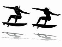 Silueta de la persona que practica surf, dibujo del vector Fotografía de archivo libre de regalías