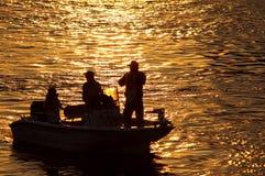 Silueta de la pesca Imágenes de archivo libres de regalías