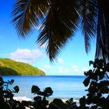Silueta de la playa de British Virgin Islands fotos de archivo