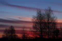 Silueta de la puesta del sol Foto de archivo