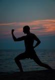 Silueta de la puesta del sol del hombre que practica artes marciales Imagen de archivo libre de regalías