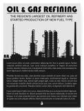 Silueta de la refinería del petróleo y gas o de la fábrica de productos químicos Imagenes de archivo