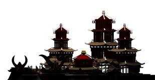 Silueta, de la representación china de la ciudad antigua 3d de la pagoda de los edificios ilustración del vector