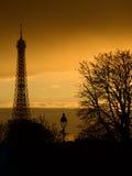 Silueta de la torre Eiffel Imágenes de archivo libres de regalías