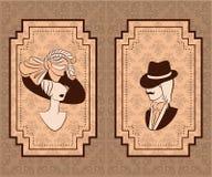Silueta de la vendimia de la muchacha con el hombre. Foto de archivo libre de regalías