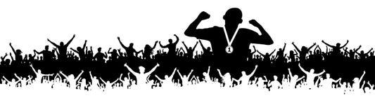 Silueta de la victoria del hombre de los deportes Muchedumbre de fans, animando Bandera, fondo del vector