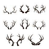 Silueta de las astas de los ciervos del vector aislada en blanco Fotos de archivo