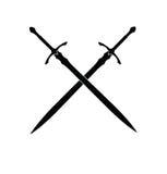 Silueta de las espadas Fotos de archivo