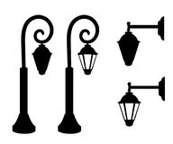 Silueta de las farolas del vintage Vector las luces retras de la lámpara de calle aisladas en el fondo blanco Página del sitio we Imagen de archivo