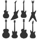 Silueta de las guitarras eléctricas Imagen de archivo