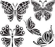 Silueta de las mariposas Dibujo de líneas y de puntos Imagen simétrica opciones Foto de archivo libre de regalías