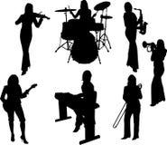Silueta de las muchachas de la música Fotografía de archivo