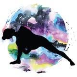 Silueta de las mujeres Limite completamente la actitud Baddha Parsvokanasana de la yoga del ángulo lateral stock de ilustración
