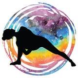Silueta de las mujeres Limite completamente la actitud Baddha Parsvokanasana de la yoga del ángulo lateral ilustración del vector
