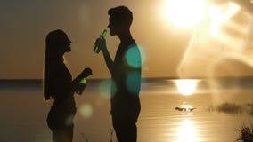Silueta de los amigos felices que beben la cerveza en la playa metrajes