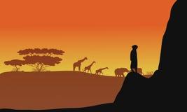 Silueta de los animales África Imagenes de archivo