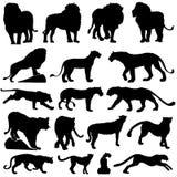 Silueta de los animales de los gatos grandes de la fauna de África libre illustration